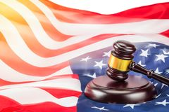Gavel and USA flag. A photo of gavel and USA flag. Shot in concept idea law and usa royalty free stock photo