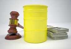 Gavel, wads money and barrel of gas Stock Photo
