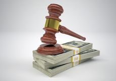 Gavel and wads money Stock Photography