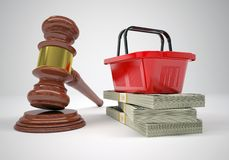 Gavel, wads money and shopping basket Stock Photography