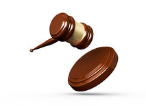 Gavel. Wooden gavel in action, isolated on white background Stock Photo
