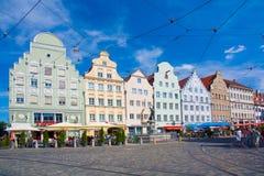 Gavelförsedda hus på Moritz Square, Augsburg Royaltyfri Foto