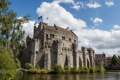 Gavensteenkasteel in het historische centrum van Gent royalty-vrije stock foto