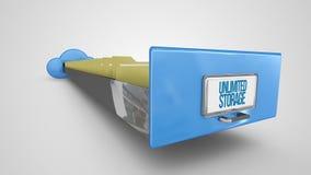 Gaveta de arquivo ilimitada do armazenamento no fundo branco ilustração stock