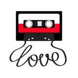 Gaveta de cassete áudio plástica com amor da palavra da fita Ícone retro da música Elemento da gravação anos de 80s 90s Molde da  Foto de Stock Royalty Free