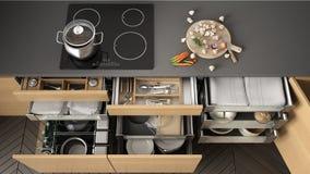 Gaveta de madeira aberta da cozinha com acessórios para dentro, solução f ilustração do vetor