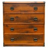 Gaveta de madeira escura da caixa do vintage isolada no fundo branco Front View Fotografia de Stock