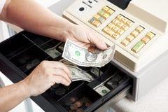 Gaveta do registo de dinheiro horizontal Foto de Stock Royalty Free
