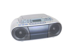 Gaveta, leitor de cd moderno e rádio isolados no branco Fotos de Stock