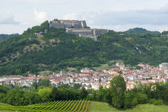 Gavi (Piedmont, Italy). Gavi (Alessandria, Piedmont, Italy), panoramic view with the historic fortress Royalty Free Stock Image