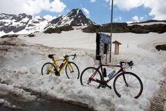Bikes parked on the Gavia pass, an alpine pass of the Southern Rhaetian Alps, marking the royalty free stock images