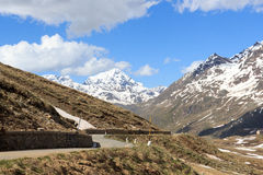 Gavia pass road with panorama view and alpine mountain Gran Zebru Stock Photo