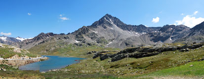Gavia pass, white lake. Messi valley adamello area in brescia country Royalty Free Stock Images