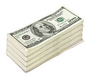 Gavilla grande de dinero aislada en blanco Imágenes de archivo libres de regalías