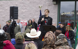 Gavin Seim speaking. Spokane, Washington USA - December 20, 2014. Gavin Seim speaks to a crowd in Spokane Valley, Washington Stock Photo