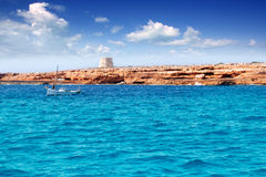 Gavina tower in Formentera island traditional boat Royalty Free Stock Photos