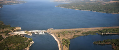 Gavins Point Dam Aerial Perspective Stock Photo