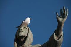 Gaviota en la estatua de St Francis en la plaza San Giovanni, Roma, Italia Imagen de archivo libre de regalías