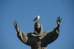 Gaviota en la estatua de St Francis en la plaza San Giovanni, Roma, Italia foto de archivo