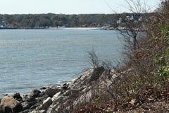 Gaviotas del tiempo de la playa que cruzan desde arriba Foto de archivo libre de regalías