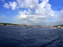 Gaviotas y barcos de vapor del vuelo del puente de Bosphorus Foto de archivo
