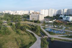 Gavrikovskiy pond and Butovo park from the birds sight, Moscow, Russia stock image