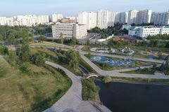Gavrikovskiy pond and Butovo park from the birds sight, Moscow, Russia royalty free stock photo