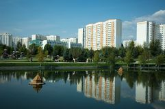 Gavrikovskiy pond and  Butovo park, Moscow, Russia stock photo