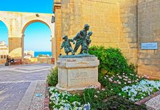 Gavroches small boys sculpture at Upper Barracca Gardens Vallett. Gavroches small boys sculpture at Upper Barracca Gardens in Valletta, Malta Stock Image