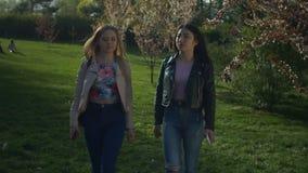 Gawędzenie młode kobiety chodzi w kwitnącym wiosna parku zbiory