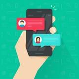 Gawędzi wiadomości powiadomienie na smartphone wektorze, płascy sms bąble na telefonu komórkowego ekranie, mężczyzna osoby gawędz royalty ilustracja