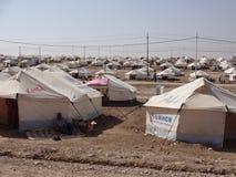 Gawilah camp. GAWILAH REFUGEE CAMP, BARDARASH, KURDISTAN, IRAQ - 2013 OCTOBER 24 - Many tents in Gawilah (gawilan) camp depict the drama occuring in the region Royalty Free Stock Image