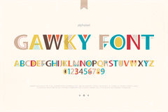 Gawky font. Geometric style alphabet letters and numbers. vector font type design. modern lettering symbol. abstract, decorative typesetting. ornamental typeface stock illustration