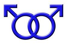 Gay. Blue symbol of gay men on the white background stock illustration