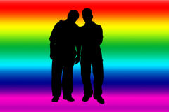 Gay. Rainbow banner with gay silhouettes Stock Photos