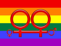 Gay adoption on rainbow flag. Illustration of symbols for gay female adoption in red, on a rainbow flag background Stock Photography