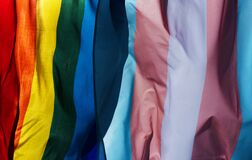 Free Gay And Transgender Pride Flags Waving On The Sky Royalty Free Stock Image - 187098976