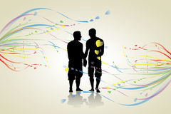Gay background. Vector illustration of gay couple Royalty Free Stock Photography