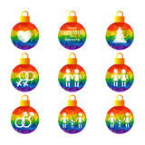 Gay christmas-07. Christmas balls set with gay symbols isolated on white background. Xmas illustration. Gay pride signs. LGBT couples. Design elements for flyers vector illustration