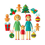 Gay christmas-18. Gay woman couple with Christmas signs isolated on white background. Xmas illustration. Design elements for greeting cards, flyers or banners royalty free illustration