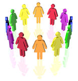 Gay circle women. Gay flag colored woman signs placed in circle Stock Photography