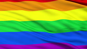 Gay Close Up Waving Flag. Gay Flag, Close Up Realistic 3D Animation, Seamless Loop - 10 Seconds Long stock video footage