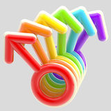 Gay community emblem made of rainbow male signs Stock Photography