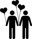 Gay couple. With heart-shaped balloons Stock Photos
