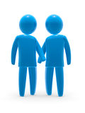 Gay couple. Blue figures holding hands. Two man in love Stock Images