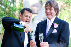 Gay Couple - Champagne Splash Royalty Free Stock Photo