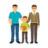 Gay couple with a child. Vector illustration Stock Photo