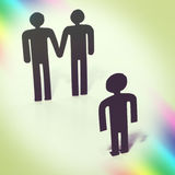 Gay couple with child, wish for child, same-sex marriage, figurines Stock Photos