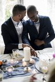 Gay Couple Cutting Cake Together on Wedding Reception royalty free stock photos