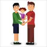 Gay couple. Gay family of two men and little daughter. Vector illustration. Royalty Free Stock Photography